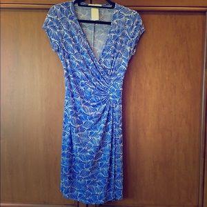 Short sleeve faux-wrap dress